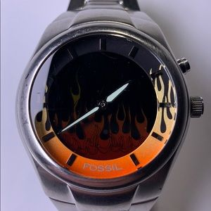 Fossil big flames stainless steel watch